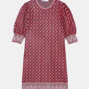 NWT Zara red Jacquard zig zag dress small S